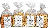Paquete con 4 Taralli Bell'Olio di Puglia. Producto horneado ideal para snacks. El paquete contiene taralli con aceite de oliva, con semillas de hinojo, con cebolla y 'Pizzaiola'