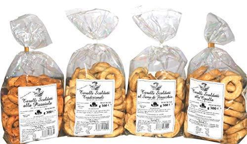 4 Pacchi Taralli Scaldati Bell'Olio di Puglia | Prodotto da forno ideale per snack | Vi proponiamo: taralli all'olio, al seme di finocchio, alla cipolla e alla pizzaiola | Prodotto artigianale