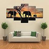 Cuadros de Lienzo, Cuadros en Lienzo, Grupo de Elefantes Africa,Vintage Pared Decoración Pintura Dormitorio Sala de Estar Baño Regalos para Familiares Amigos