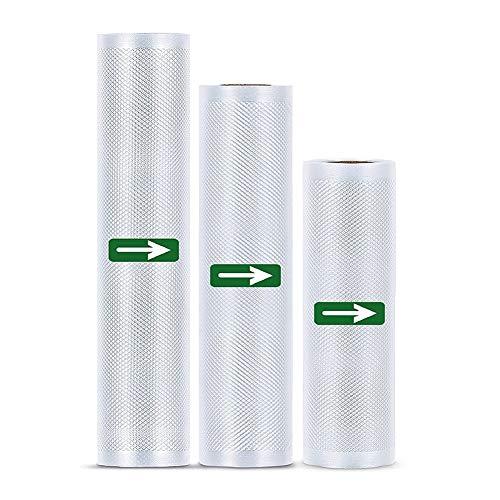 Chillers Rollos de vacío 3 Rollos Rollos de Papel de Aluminio sin BPA para Todos los selladores al vacío, Bolsas de vacío Resistentes y Resistentes al desgarro y a la ebullición y Reutilizables