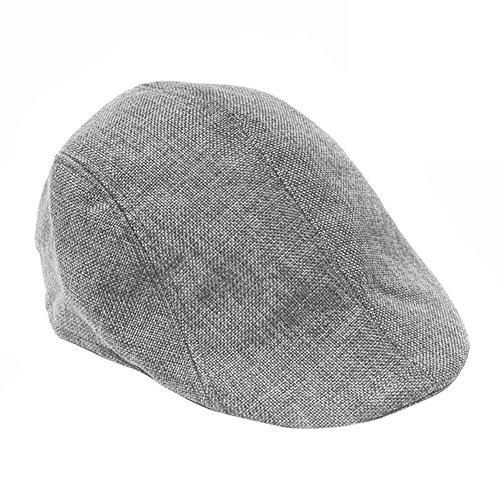 HugeStore Herren Flat Cap Flatcap Schiebermütze Schildmütze Schirmmütze Newsboy Kappe Sportcap Golfmütze Grau
