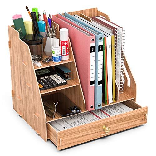 Booxihome Stehsammler Dokumentenablage , Papierablage Holz Optik, Schreibtisch Organizer, Büro Briefablage mit Stiftköcher und Schublade