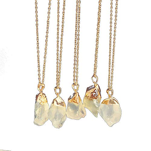 For Sale! Natural Mineral Stone Pendant Necklace - Rock Gold Plated Quartz Crystal Souvenir Clavicle...