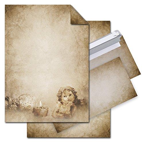 SET 12 Blatt Weihnachts-Briefpapier VINTAGE ENGEL 100g Weihnachts-PAPIER DIN A4 Brief-Bogen + 10 Umschlag marmoriert vintage natur braun alt beige