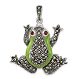 925 Sterling Silver Marcasite Red Garnet Green Epoxy Frog Pendant Charm Necklace Animal Fine Jewelry For Women Gifts For Her