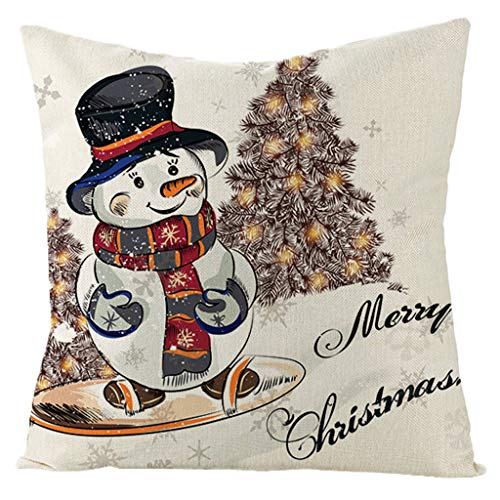 Javntouy Cushion Cover Sofa Car Pillow Case Cover Christmas Flax Soft Pillowcase Sofa Waist Throw Pad Cover Home Decoration