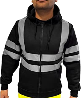 Men's Hoodies Jacket Reflective Sweatshirt, High Visibility Full Zip Safety Tops Blouse