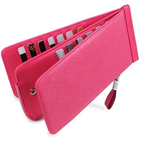 Huztencor Women's Credit Card Holder RFID Blocking Leather Multi Card Organizer Wallet Slim Long Zipper Bi-fold Business Card Case Clutch Wallet with ID Window Pink (FBA)