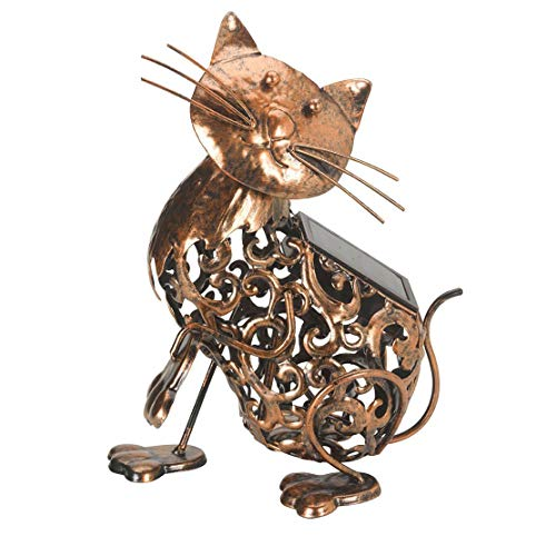 garden mile Solar Powered Light Up CAT | LED Lights Copper Effect | Metal Garden Animal Sculptures Garden Ornaments Decoration