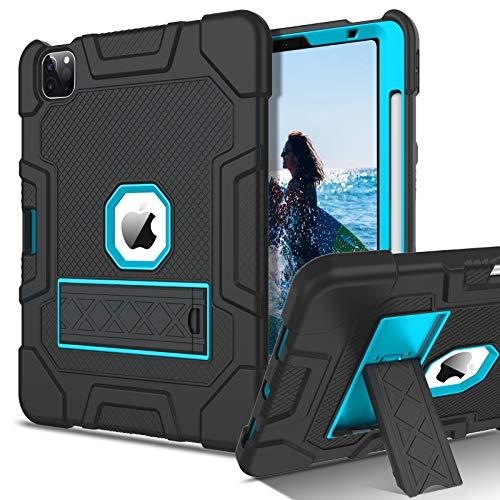 DOMAVER iPad Air 4 Case, iPad 10.9 Case 2020 with Pencil Holder Kickstand 3-in-1 Heavy Duty Shockproof Protective Full Body Tablet Cover for iPad Air 4th Generation 10.9 Inch 2020, Black/Blue
