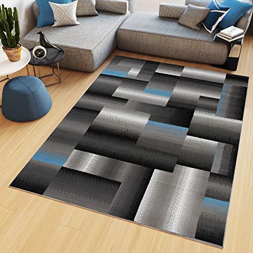 TAPISO Maya - Alfombra Moderna para salón, Gris y Azul, geométrica a Cuadros de Pelo Corto, 140 x 200 cm