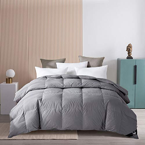 Topllen All Season Down Comforter King Size - 100% Cotton Downproof Hypoallergenic Fabric - Quilted Fluffy Comforters with Corner Tabs ( Grey )