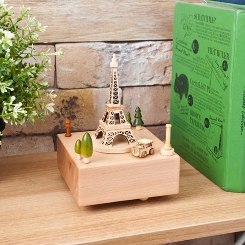 Hardwood Eiffel Tower Music box