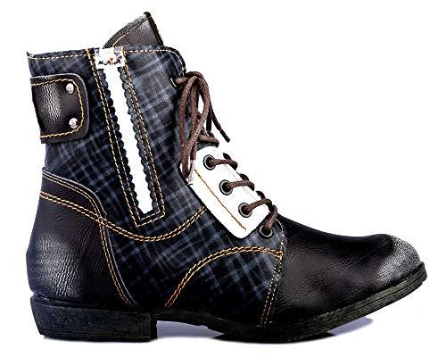 TMA 1881 Damen Stiefeletten Leder gefüttert schwarz - EUR 39