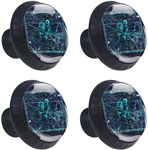 Constelación del Zodiaco Géminis Acuario Unicornio Estilo magnífico gabinete de cerámica perillas Tire manijas para Muebles Armario cajón Armario Cocina baño