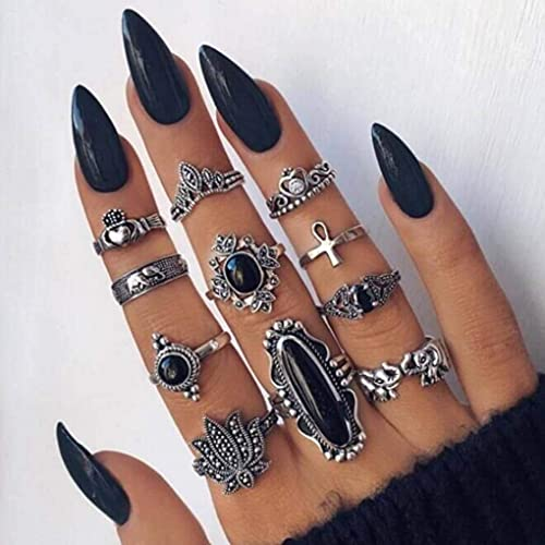 Obmyec Stiletto Black Press on Nail Long Halloween Fake Nails Glossy Punk Pointed False Artificial Nails Sharp Top Acrylic Full Cover Faux Fingernails for Women and Girls(24Pcs)