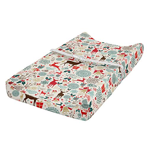 ABAKUHAUS Navidad Cubierta del cambiador, de Navidad de la vendimia, Funda blanda para el cambiador de pañales con agujeros para la hebilla de seguridad, Gasolina Azul Marrón