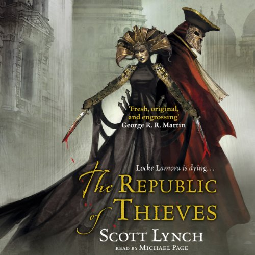 The Republic of Thieves                   Written by:                                                                                                                                 Scott Lynch                               Narrated by:                                                                                                                                 Michael Page                      Length: 23 hrs and 43 mins     111 ratings     Overall 4.6