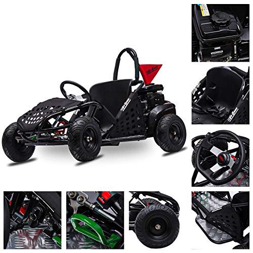 FITRIGHT 2020 79cc 2.5 HP, 4 Stoke Go Kart, Racing Go Cart for Kids with Foot Pedal and Foot Break. (Black)