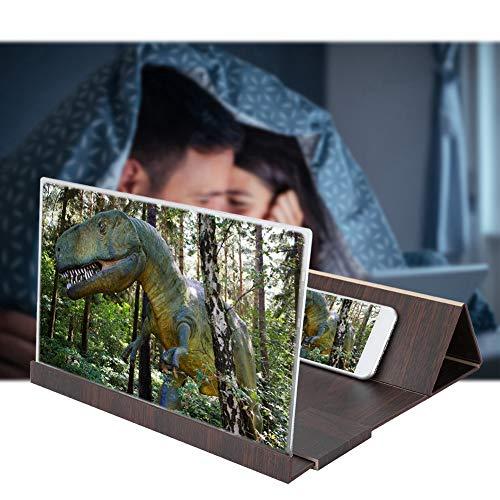 Lupa de pantalla de grano de madera de 14 pulgadas, amplificador de video de aumento exquisito 2~3 veces para todo tipo de teléfonos inteligentes(café)