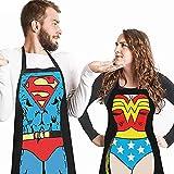 DX 2 Piezas Cocina para Barbacoa de Divertidos Delantales Hombres Mujeres Trabajo Restaurante Cocineros Ocio DíA del Padre Navidad CumpleañOs Felicidad Jardinería Pareja Regalo Delantal Superman