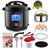 MOOSOO 12-in-1 Electric Pressure Cooker, Instant Digital Pressure Pot,6 Quart,Stain-Resistant Slow Cooker,Steamer, Sauté,Rice Cooker,Yogurt Maker, Cake Maker, Egg Cooker, Sterilizer and Warmer with Large LCD Panel, 11+ Accessories,Black