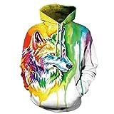 CYNB Sweatshirt Moda Cool Men Tops 3D Animal Wolf Print Sudaderas con Capucha para Hombres Marca De Moda Hombres Divertidos Tallas Grandes Xxs-4Xl Sudaderas con Capucha para Hombres