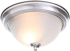 Commercial Electric Twin Pack 2-Light Brushed Nickel Flushmount