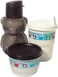 Tupperware Black Bear Mini Sports Bottle Eco Animals Snack Cup Sippy Tumbler Set