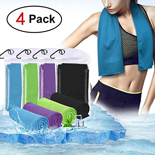 Crenics Cooling Towel 40x12 Inches, Ice Towel, Soft Breathable Chilly Towel, Microfiber Towel for Yoga, Sport, Running, Gym, Workout,Camping, Fitness, Workout & More Activities (Mix Color 4 Pack)