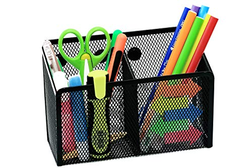 Magnetic Pen Holder Dry Erase Marker Cup Holder Storage Basket Organizer for Desk 2 Large Compartments Ultra-Strong Magnets Sturdy Design Ideal for Whiteboard Office, Locker
