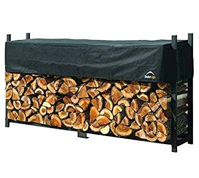 ShelterLogic 4' Ultra-Duty Firewood Rack-in-a-Box Wood Storage with Premium Steel Frame and Adjustable Water-Resistant Cover