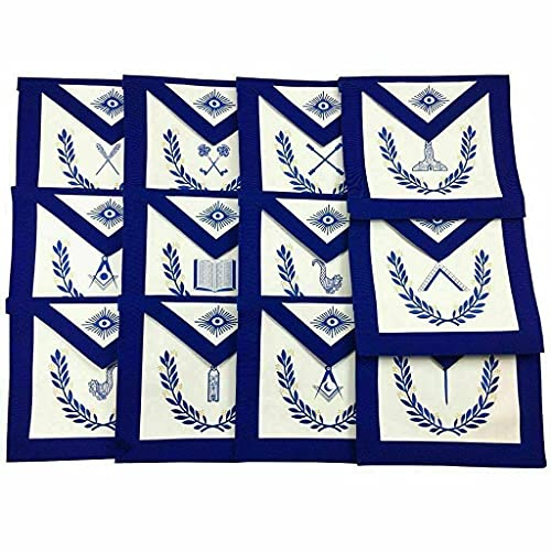 MASONIC BLUE LODGE OFFICERS APRON - SET OF 12 APRON WITH FREE 12 COTTON GLOVES