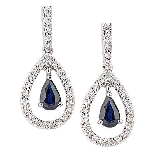 Naava Women's 18ct White Gold Sapphire and Diamond Teardrop Drop Earrings