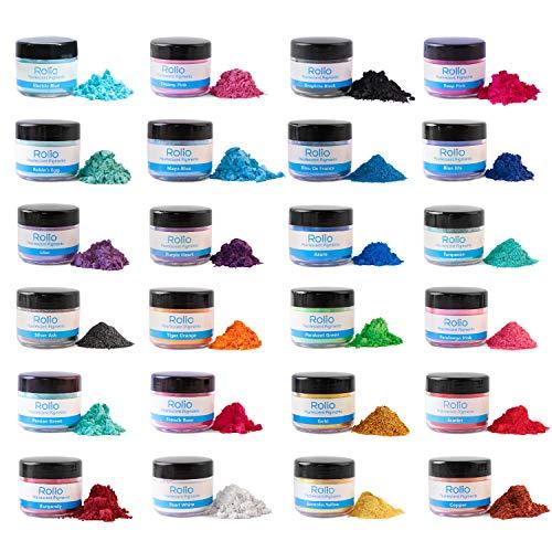 ROLIO Mica Powder - 24 Pearlescent Color Pigments