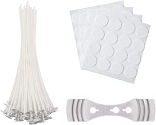 64 Pieces Cotton Candle Wicks with Candle Wick Stickers and Centering Device for Candle DIY, Candle Making Kit (6 inch)