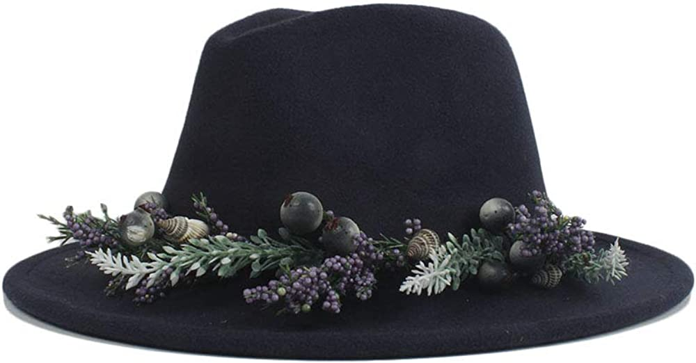 L.W.SUSL Fedora Hat with Lavender Flower Ribbon Wide Brim Felt Floppy Cloche Cap