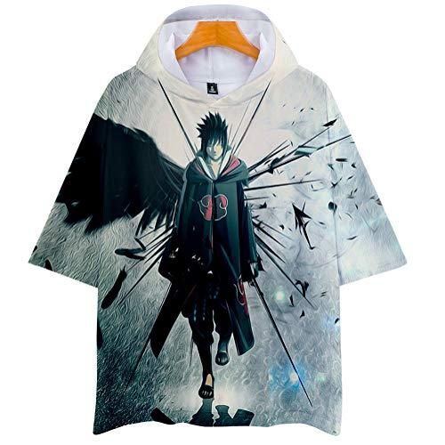 Naruto Cosplay Sudadera con Capucha de Manga Corta Video Juego Aficionados T-Shirt Pop Anime Logo Camiseta tee Tops Regalo hacia Hombre Mujer Niño Niña,Gris,4XL