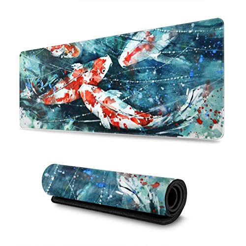 Large Gaming XXL Desk Mouse Pad with Stitched Edge Keyboard Pad Extended Gaming Mouse Mat Non-Slip Rubber Base Ergonomic Mousepad for Computer(Colorful Koi Fish Painting 11.8x31.5 in)