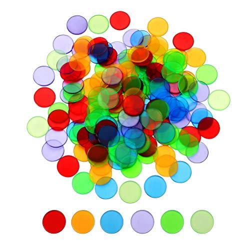 TOYANDONA Accesorio de Juego de Bingo contadores Coloridos Transparentes de plástico de 100 Piezas (Color Mezclado)