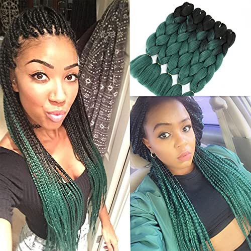 Ombre Braiding Hair Green Kanekalon Jumbo Braids Hair Extension Jumbo Braiding for Twist Braiding Box Braids Crochet Hair (Black-Dark Green 24'5PCS)