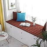 Alfombra de lino grueso para ventana de bahía, antideslizante, para sofá, cama, balcón, alféizar de ventana, lavable a máquina-75 × 160 cm-A