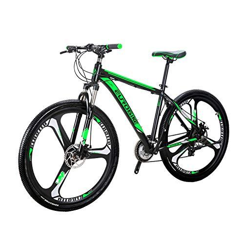 Eurobike BICYCE X9 29inch Mountain Bike 3 spoke wheels 21 Speed Shift Left 3 Right 7 Aluminum alloy frame mountain bike Mountain Bicycle Green