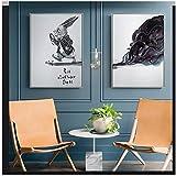 LJXIAOXINFBH Netter Gentleman Kaninchen Leinwand Malerei Cartoon Poster und Drucke Wandkunst Bilder für Wohnzimmer Kinderzimmer Dekor 70x90cm / 27,6'x 35,4' Mit Rahmen