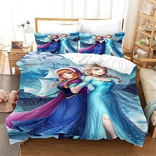 QWAS El juego de ropa de cama de la princesa Disney Aisha y Anna de microfibra completa el sueño de la princesa infantil (A02,200 x 200 cm + 50 x 75 cm x 2).