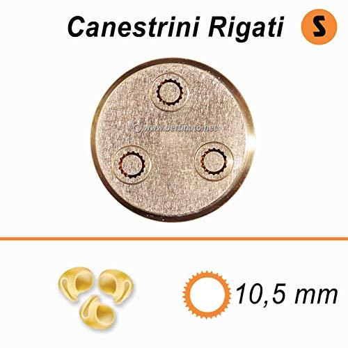 Trafila in bronzo per Canestrini rigate Pipe rigate piccole per macchina pasta fresca professionale VIP/2 2,8kg e VIP4 4kg e compatibile FIMAR MPF 2,5 e MPF 4