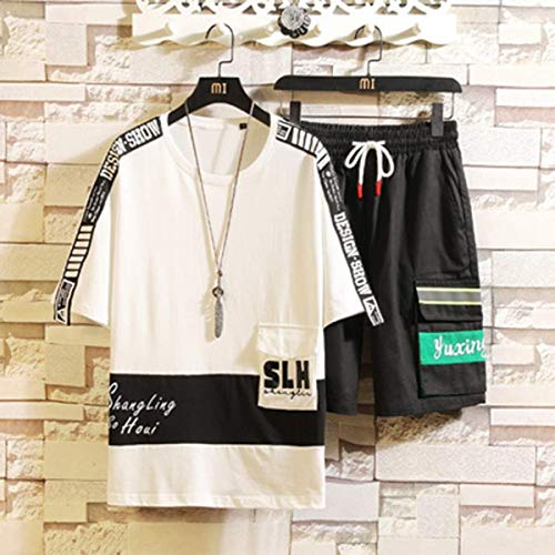 LLSDLS Teen T-Shirt Suit Hombres de Manga Corta Ropa Deportiva de Dos Piezas Estudiante Guapo Sudadera Camiseta (Color : White, Size : M)