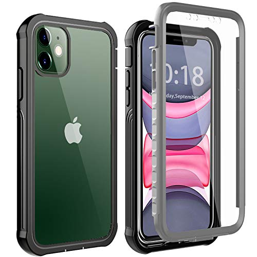 BESINPO iPhone 11 Hülle, iPhone 11 case, Handyhülle iPhone 11 Transparent TPU 360 Grad Rugged Case Ganzkörper mit eingebautem Displayschutz Handyhülle Schutzhülle Case für iPhone 11 Schwarz
