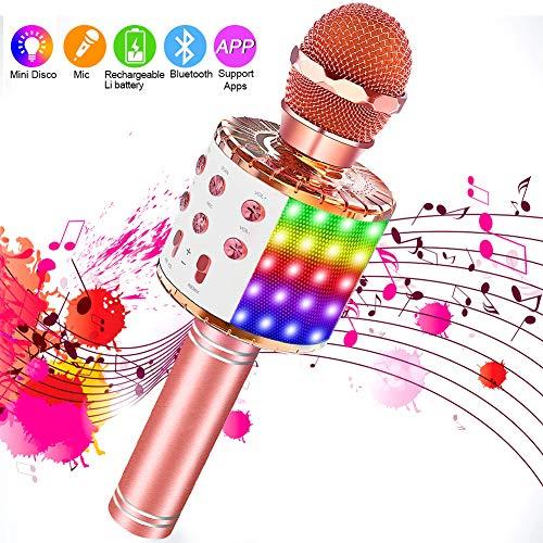 SaponinTree Karaoke Mikrofon, Bluetooth Mikrophon mit Aufnahme, Dynamisches Licht Drahtlose Tragbares Handmikrofon mit Lautsprecher für Erwachsene und Kinder, Kompatibel mit Android IOS PC