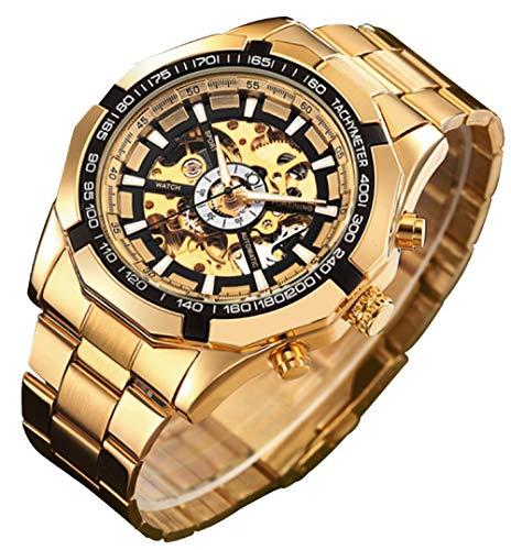 GuTe出品 スケルトン 軽い ステンレスバンド 上下仮のボタン タキメーター ブラック ゴールド 機械式 自動巻き メンズ 腕時計